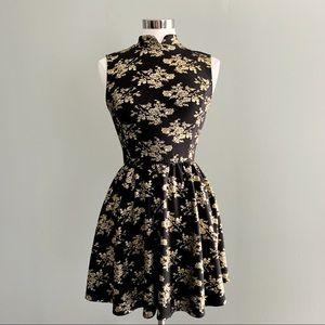 Gold Floral A Line Dress